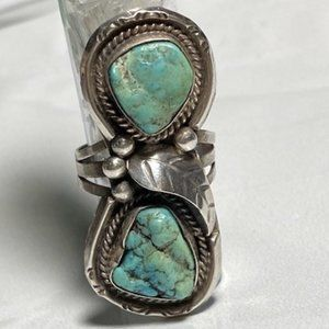 Truly Old Pawn Turquoise Ring in Sterling Silver 7